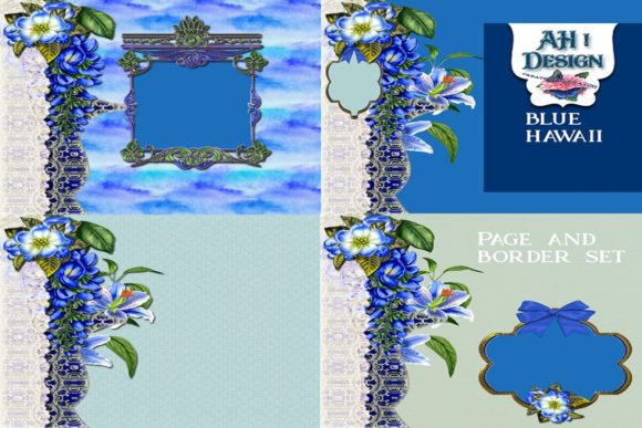 Blue Hawaii Page & Border Kit Graphic Backgrounds By AHDesign