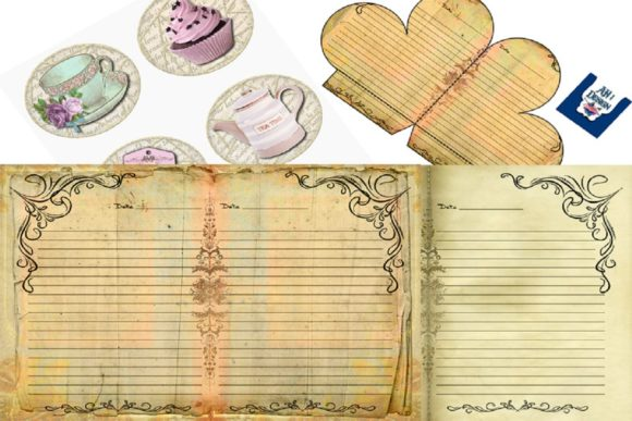 Tea and Roses Journal Graphic Backgrounds By AHDesign