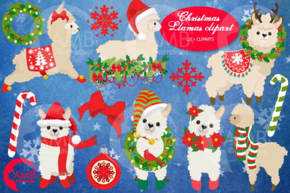 Christmas Llama Clipart Graphic Illustrations By AMBillustrations - Image 5