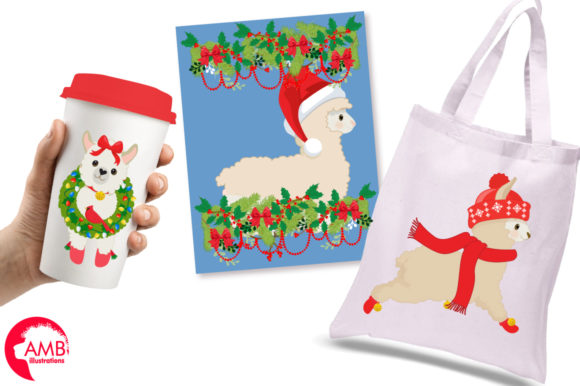 Christmas Llama Clipart Graphic Illustrations By AMBillustrations - Image 4