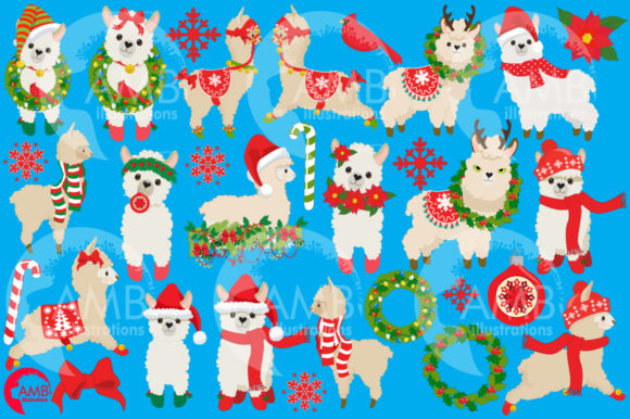 Christmas Llama Clipart Graphic Illustrations By AMBillustrations