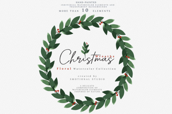 Print on Demand: Christmas Watercolor Wreaths Collection Graphic Illustrations By 3Motional