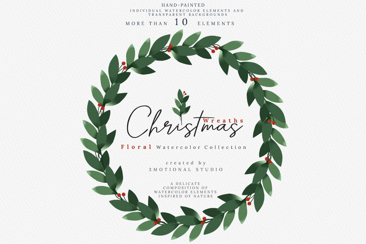 Download Free Christmas Watercolor Wreaths Collection Graphic By 3motional for Cricut Explore, Silhouette and other cutting machines.