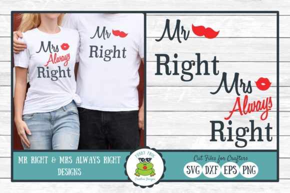 Mr Right and Mrs Always Right Gráfico Crafts Por funkyfrogcreativedesigns