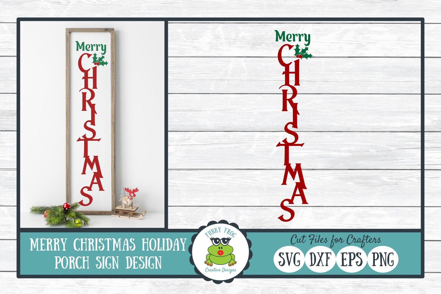 Merry Christmas Porch Sign Design Graphic By