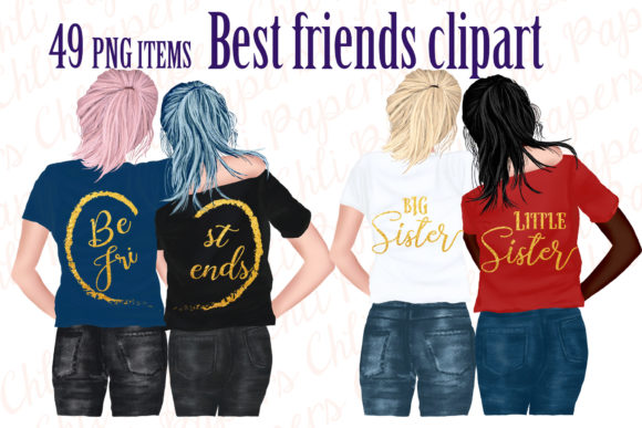 Best Friends Clipart Gráfico Ilustraciones Por ChiliPapers