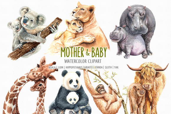 Print on Demand: Watercolor Mom and Baby Animals Graphic Illustrations By SapG Art