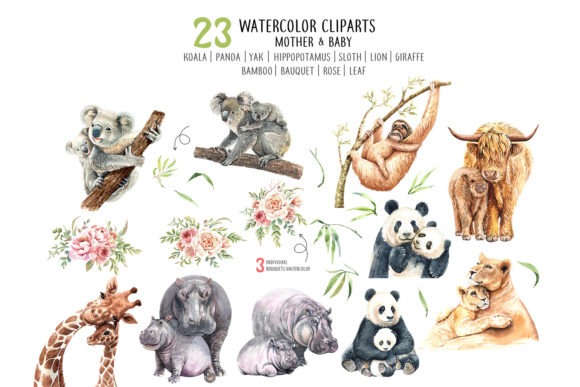Print on Demand: Watercolor Mom and Baby Animals Graphic Illustrations By SapG Art - Image 2