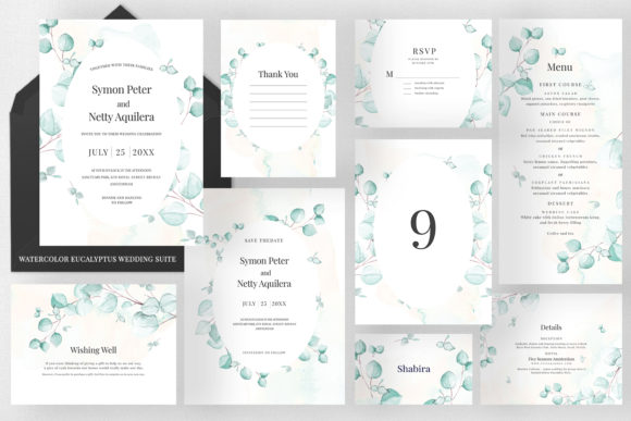 Watercolor Eucalyptus Wedding Suite Graphic Print Templates By Azka Creative