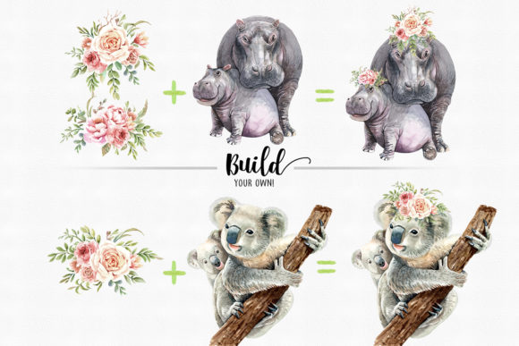 Print on Demand: Watercolor Mom and Baby Animals Graphic Illustrations By SapG Art - Image 3