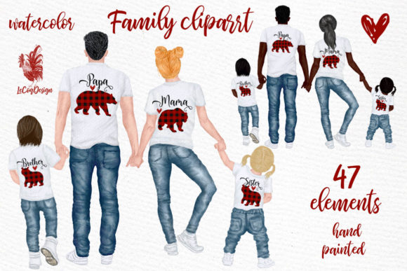 Family Clip Art Parents & Kids Graphic Illustrations By LeCoqDesign - Image 1