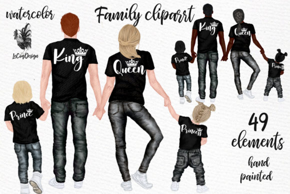Family Clip Art Parents Clipart Kids Graphic Illustrations By LeCoqDesign - Image 1