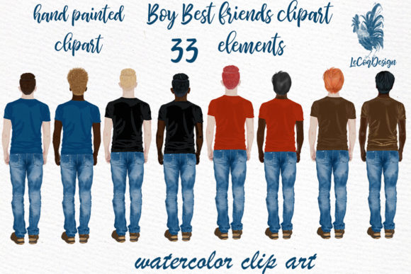 Male Clipart Watercolor Boys Clipart Men Graphic Illustrations By LeCoqDesign - Image 1