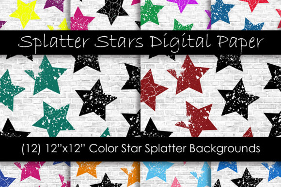 Stars Grunge Pattern Digital Papers Graphic Patterns By GJSArt