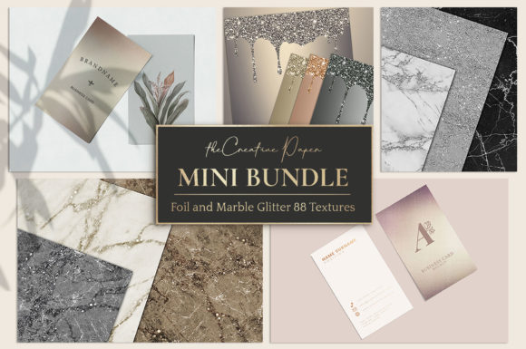 Print on Demand: Rose Gold Foil & Marble Glitter Textures Graphic Textures By Creative Paper