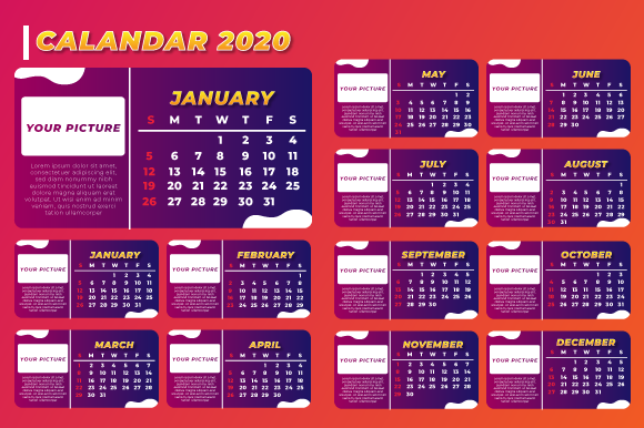 Download Free Elegant 2020 Calendar Layout Template Graphic By Qasas77 for Cricut Explore, Silhouette and other cutting machines.