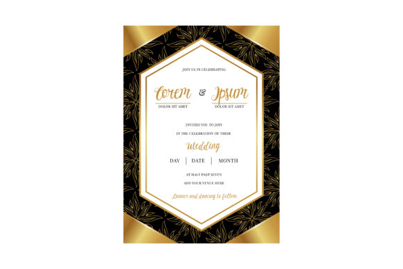 Download Free Invitation Gold Leaf Pattern Black Graphic By Noory Shopper for Cricut Explore, Silhouette and other cutting machines.