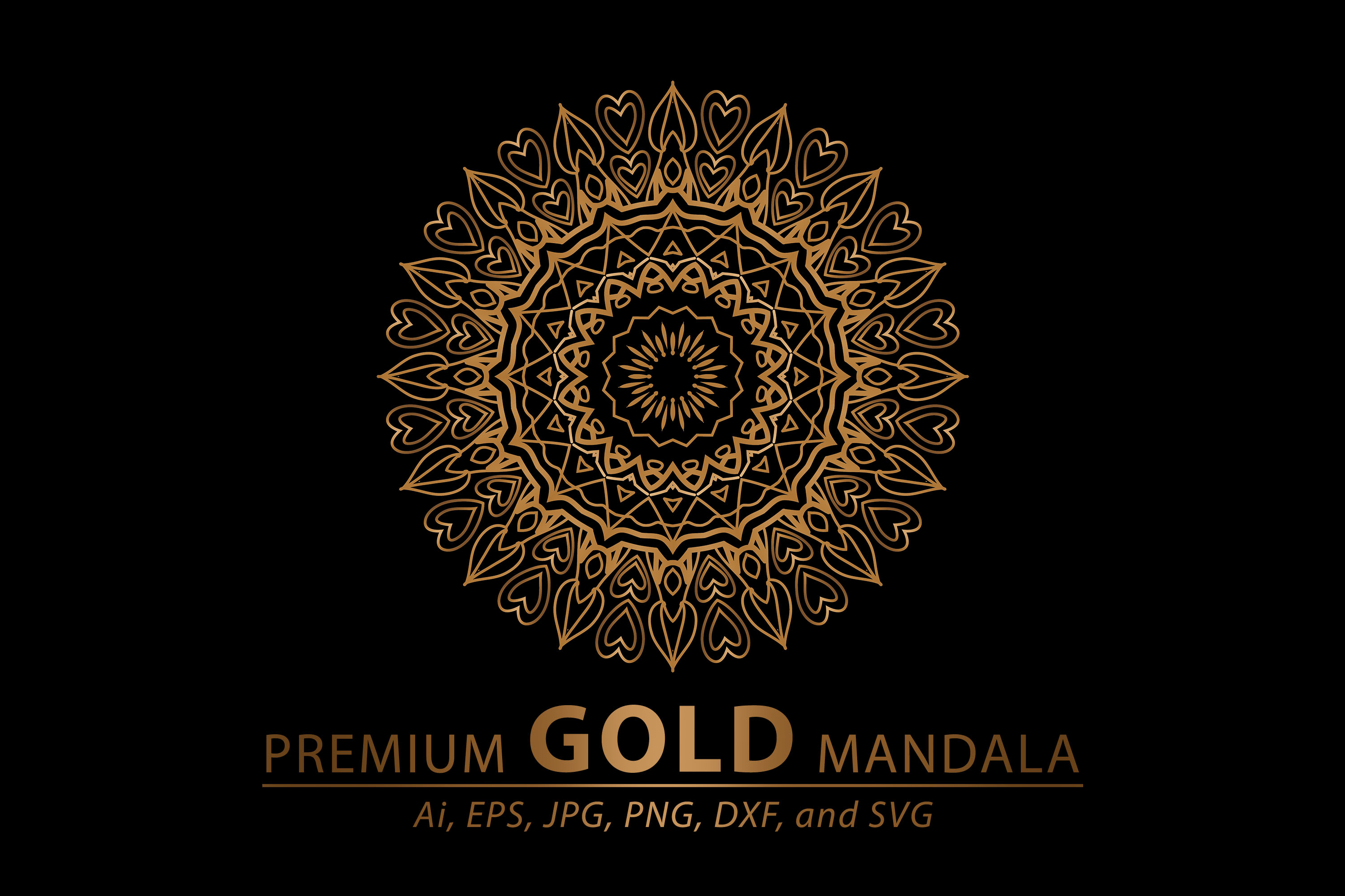 Download Free Premium Gold Mandala Vector Art Pattern Grafico Por for Cricut Explore, Silhouette and other cutting machines.