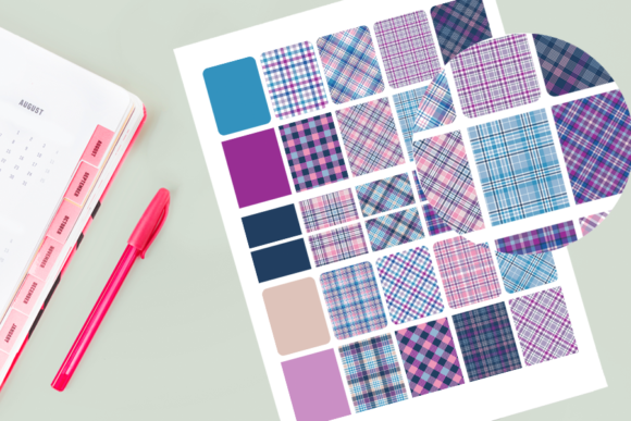 Print on Demand: Gingham Plaid Stickers Graphic Objects By AM Digital Designs