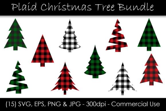 Christmas Tree Buffalo Check Bundle Gráfico Objetos Por GJSArt