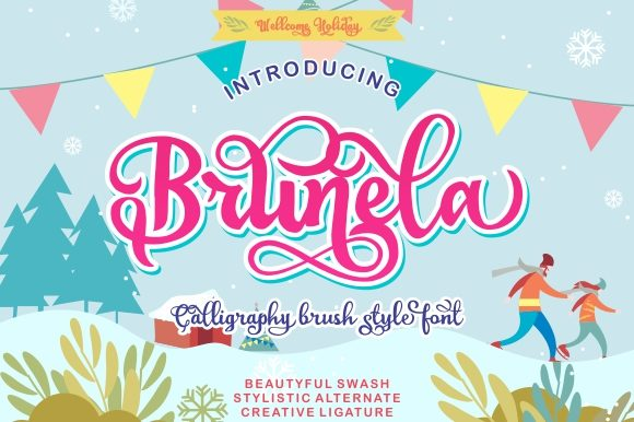 Print on Demand: Brunela Script & Handwritten Font By victoriant99