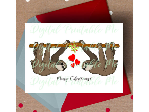 Download Free Sloth Christmas Card Graphic By Digitalprintableme Creative Fabrica for Cricut Explore, Silhouette and other cutting machines.