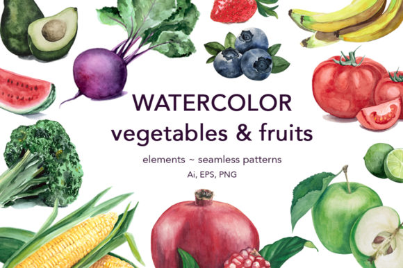 Watercolor Vegetables & Fruits Graphic Illustrations By Vera Vero