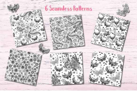 Print on Demand: Butterfly Seamless Patterns Graphic Patterns By elionorik - Image 2