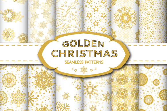 Print on Demand: Golden Christmas Seamless Pattern Graphic Patterns By elionorik