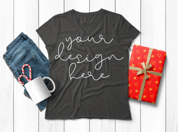 Download Free Xmas Theme Ladies T Shirt Mock Ups 6 Graphic By Mockup Venue for Cricut Explore, Silhouette and other cutting machines.