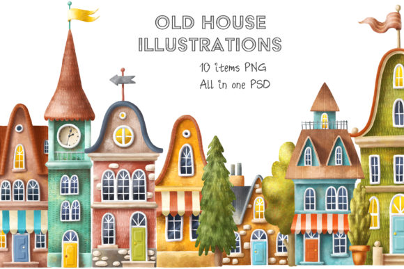 Print on Demand: Old House Clipart Graphic Illustrations By Architekt_AT