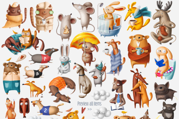 Print on Demand: Huge Set of Funny Animals Graphic Illustrations By Architekt_AT - Image 11
