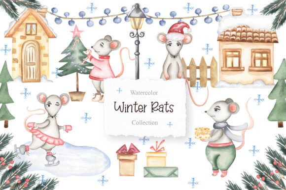 Watercolor Winter Rats Collection Graphic Illustrations By Maya Navits