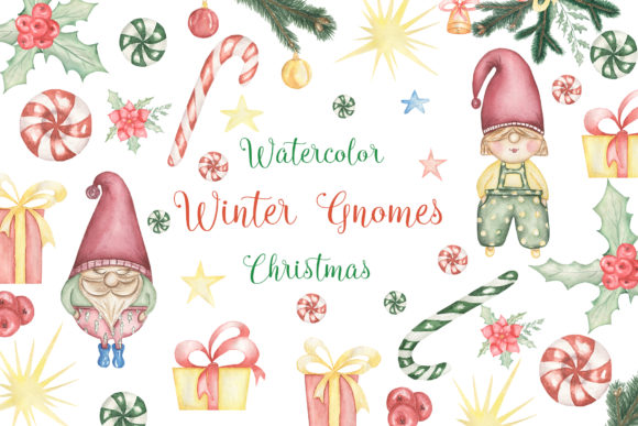 Christmas Gnomes Collection Graphic Illustrations By Maya Navits