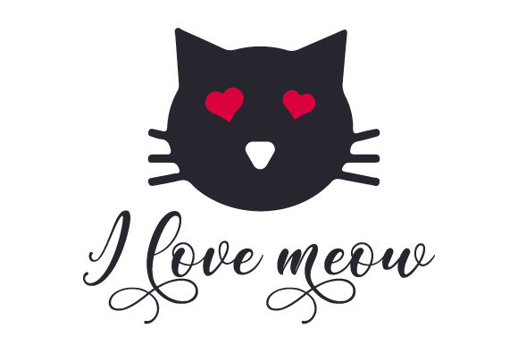 I Love Meow San Valentín Craft Cut File Por Creative Fabrica Crafts
