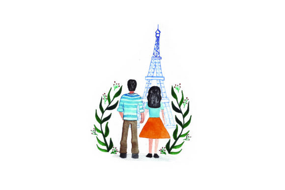 Download Free Couple At Eiffel Tower Watercolor Svg Cut File By Creative for Cricut Explore, Silhouette and other cutting machines.
