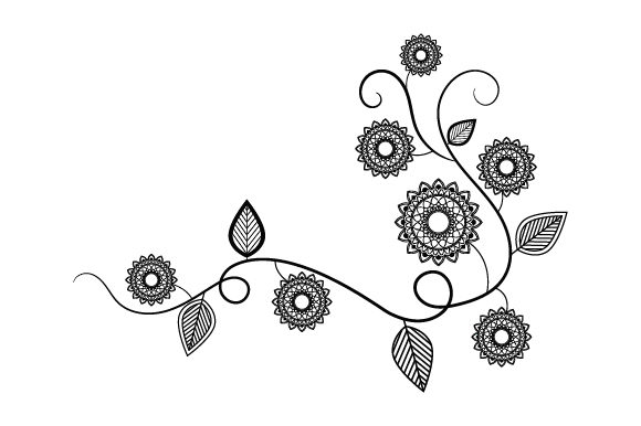 Download Free Flowers On Vine Mandala Style Svg Cut File By Creative Fabrica SVG Cut Files