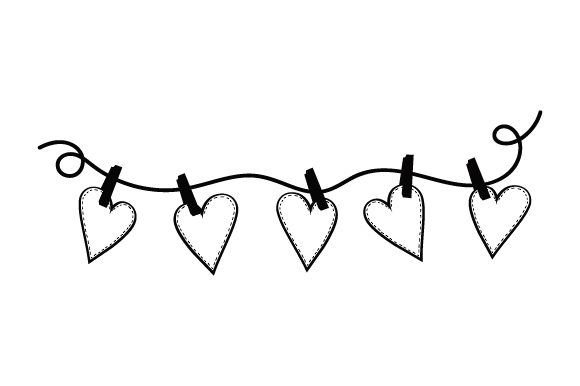 Hearts Pinned to String Valentine's Day Craft Cut File By Creative Fabrica Crafts - Image 2