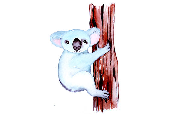 Koala in Watercolor Style Australien Craft Cut File von Creative Fabrica Crafts