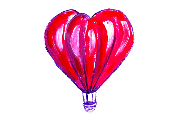 Heart Shaped Hot Air Balloon In Gouache Style Svg Cut File By