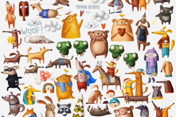 Print on Demand: Huge Set of Funny Animals Graphic Illustrations By Architekt_AT - Image 12