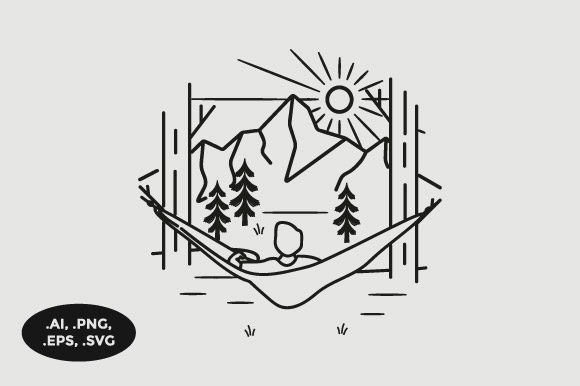 Download Free Mountain Hammock View Illustration Graphic By Sasongkoanis for Cricut Explore, Silhouette and other cutting machines.