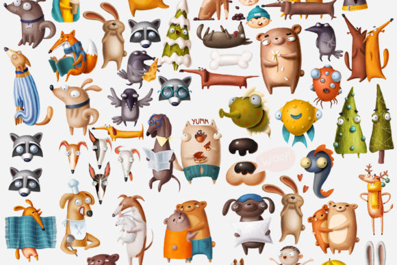 Print on Demand: Huge Set of Funny Animals Graphic Illustrations By Architekt_AT - Image 13