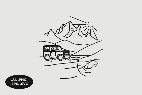 Download Free Mountain Jeep Illustration Graphic By Sasongkoanis Creative for Cricut Explore, Silhouette and other cutting machines.