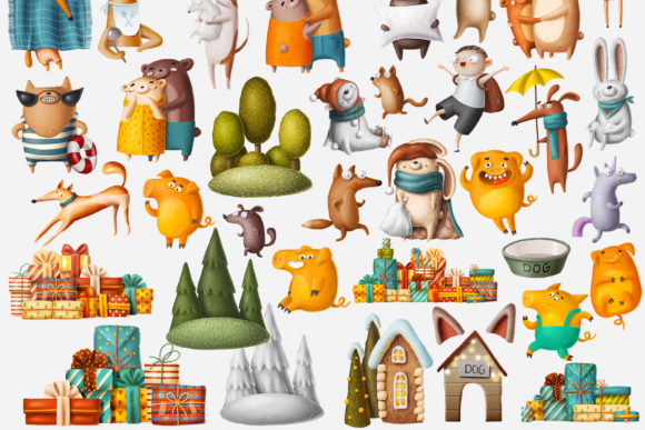 Print on Demand: Huge Set of Funny Animals Graphic Illustrations By Architekt_AT - Image 14