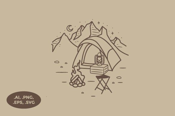 Print on Demand: Camping in a Mountain Illustration Graphic Illustrations By sasongkoanis
