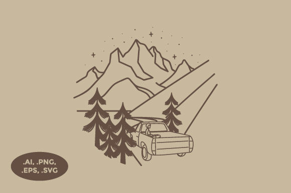 Download Free Mountain Road And Car Illustration Graphic By Sasongkoanis for Cricut Explore, Silhouette and other cutting machines.