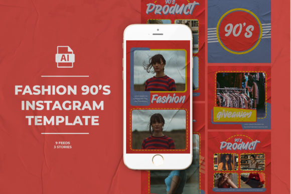 Fashion 90's Instagram Templates Graphic Web Elements By qohhaarqhaz