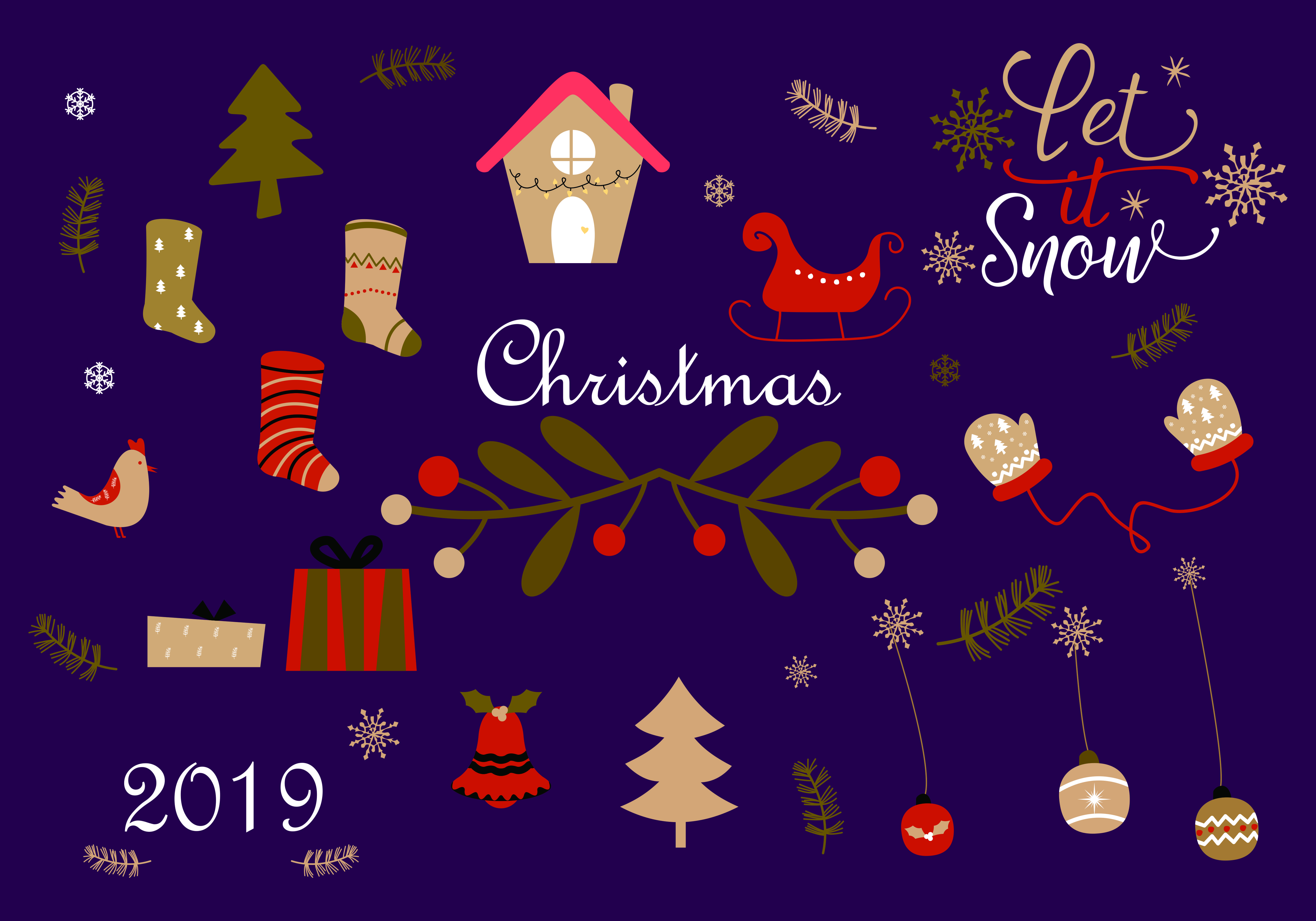 Download Free Merry Christmas And Christmas Gift Logo Graphic By Deemka Studio for Cricut Explore, Silhouette and other cutting machines.