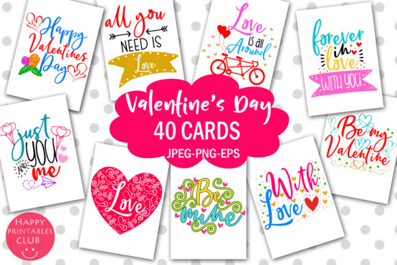 Print on Demand: Cute Valentine's Day Cards-Valentines Graphic Illustrations By Happy Printables Club - Image 1